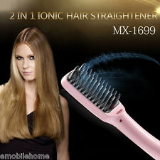 MX 1699 2 in 1 Electric Hair Straightener Comb Multi-functional Head Massager