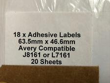18 X white self adhesive labels A4, Avery Compatoble J8161 L7161 20 Sheets