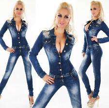 Tuta jeans donna intera skinny blu borchie strass overall manica lunga nuovo #