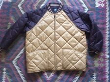 Men's Vintage Quilted Baseball Jacket Windbreaker Foot Locker Brown & Gold