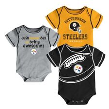 Pittsburgh Steelers NFL Baby Boys' Awesome Football Fan 3pk Bodysuit Set 18 MO
