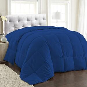 1 Piece Royal Blue Solid Comforter Cotton 1000 TC Microfiber Fill Light Weight