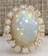 8.01 Carat Natural Opal 18K Solid Yellow Gold Diamond Cocktail Ring