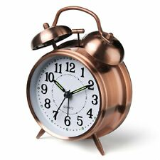"""Alarm Clocks For Heavy Sleeper Battery Operated Classic Extra Loud Bell 4"""" Bronz"""
