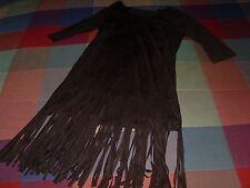 Vestido flecos largos negro tela fina con mangas talla s/m muy gustoso al tacto