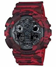 Casio Analog Digital Sport Mens G Shock Red Camouflage Watch Ga-100cm-4a