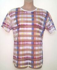 Hip Length Checked Short Sleeve Basic T-Shirts for Women
