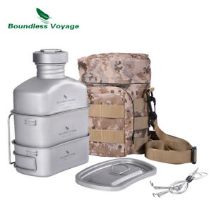 Titanium Military Canteen Cups Set Camping Hiking Water Bottle Bowl Mess Kit
