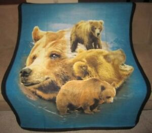 New Brown Grizzly Bears Soft Fleece Throw Gift Lap Blanket Rustic Decor Bear NIP