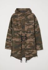 "Military Green Camo Fishtail Cotton Twill Lined Parka ""Quality Jacket"""