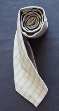 TURNBULL & ASSER SILK TIE IN GREY WITH GREEN & YELLOW GINGHAM PATTERN NMCOND