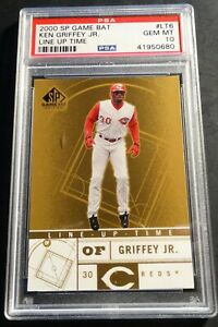 2000 KEN GRIFFEY JR. SP GAME BAT LINE UP TIME #LT6 PSA 10 REDS POP 1 (376)