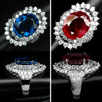 Red Ruby & Blue Topaz Ring Oval 11.20-11.40 925 Sterling silver Size 5.75-6