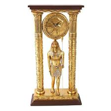 Grand Temple of Amun Horus Falcon Headed God Egyptian Column Clock Sculpture