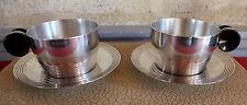 paire déjeuner tasse art déco métal argenté palissandre cup