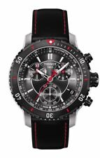 Tissot PRS 200 Men's Quartz Chronograph Black Dial Watch with Black and Red Leat