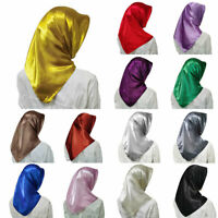 Ladies Ethnic Headscarves Muslim Satin Large Squares Soild Color Silk Scarves