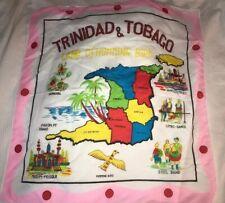 Vintage State Souvenir Scarf Handkerchief Trinidad & Tobago tourist hanky Large