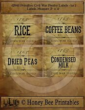 Primitive Civil War Confederate Rebel Union Pantry Labels Set of 4 • 12941 #2