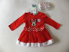 BABY GIRLS DISNEY MINNIE MOUSE CHRISTMAS DRESS & TIGHTS OUTFIT 0-3 M F+F NEW
