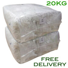 20Kg Bag of Rags White Tshirt Soft Cotton Hosiery Wipers Polishing Cloths