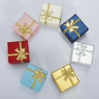 24/48 Jewelry Earring Ring Pendant Storage Holder Gift Box Bowknot Square Case