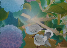 DOVES & HYDRANGEA : by RAKUSAN - Old Art Print of a Japanese Woodblock