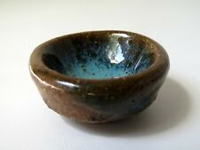 Vintage Dollhouse Miniature OOAK Artisan Art Pottery Bowl Blue Brown Stoneware
