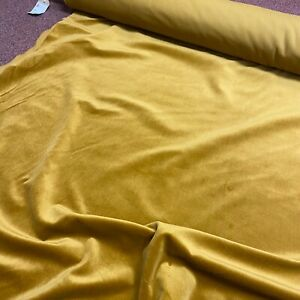 Nutmeg Yellow Velvet Smooth Texture Curtain Fabric Material 137cm wide BR342