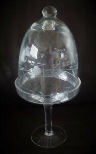 Drageoir en cristal taillé sur Piédouche à décor floral 19ème