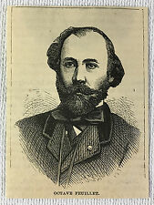 small 1873 magazine engraving ~ French Writer OCTAVE FEUILLET