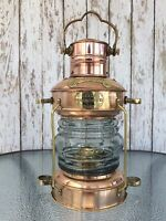 Brass & Copper Anchor Oil Lamp ~ Nautical Maritime Ship Lantern ~ Boat Light