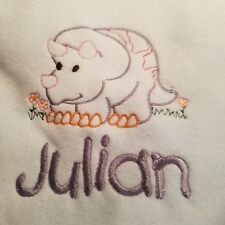 Personalized Embroidery Baby Fleece Blanket With a Dinosaur