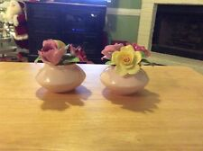 RARE Set Of 2 Bone China Floral Bouquets In A Bowl, Staffordshire, England EUC