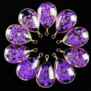 10Pcs Delicate Crystal Glass Purple Dried Flower Teardrop Pendant Bead