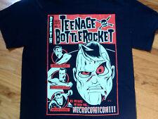 TEENAGE BOTTLE ROCKET BLACK T-SHIRT DEATH COMIC BOOK ZOMBIES NECROCOMICON PUNK