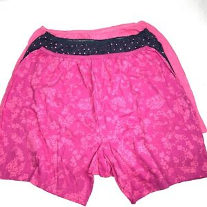Comfort Choice Womens Pink Blue Hearts 3 Pack Cotton Boxers Size 11 PLUS 28/30