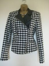 Oui ivory and black dogtooth faux leather jacket size 10