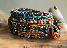 Colorful Four Wrap Bracelet With Button Czech Beads on Brown Leather Yevga 28''
