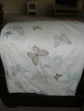 Butterfly embroidered Double Duvet Cover And Two Pillowcases. Cotton Mix.