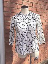 Vintage Kelita Outline Floral 3/4 Sleeve Button Front Jacket /Top