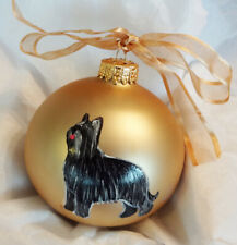 Briard Black Dog Hand Painted Christmas Ornament - Name and/or Photo