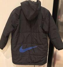 Vintage 90's Nike Air Full Zip Puffer Hoodie Jacket Black Blue Youth Medium