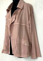 Caslon Nordstrom Womens Open Front Shirt Jacket Tencel Drape Dusty Pink Size S