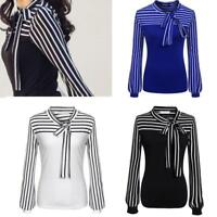 Women Casual Tie-Bow Neck Striped Long Sleeve Splicing Shirt Blouse Tops Clothes