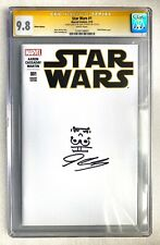 STAR WARS #1 CGC SS 9.8 JOHN CASSADAY SIGNED + SKETCH BLANK VARIANT STORMTROOPER
