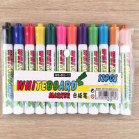 12 Colouring Dry Erase Marker Pens Easy Whiteboard Wipe Clean Book Kids
