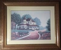 """Homco Home Interiors Picture 23 x 19"""" Victorian White House Red Driveway Flowers"""