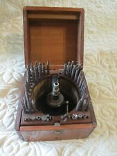 Vintage1800s Steel Hole Punch Stamp Tool Set Dove Tail Wood Box
