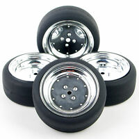 4Pcs Drift Tires and Wheels For HSP HPI 1:10 Scale RC On-Road Car PP0338+PP0107